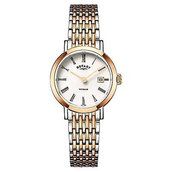 Roterande Womens Windsor Two Tone Rose guld och silver armband LB05302/01 Watch