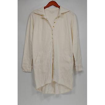 Linea por Louis Dell ' Olio mulheres ' s camisola XXS snap frente marfim A279520
