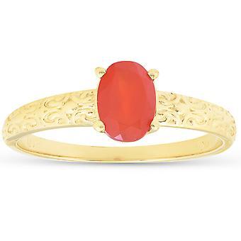 1ct Мексиканский огненный опал Ретро кольцо 14k желтое золото