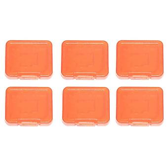 Pro tough plastic storage case holder covers for sd sdhc & micro sd memory cards - 6 pack orange