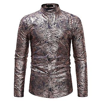 Allthemen Men's Stand Collar Bronzing Printed Slim Fit Casual Long Sleeve Shirt