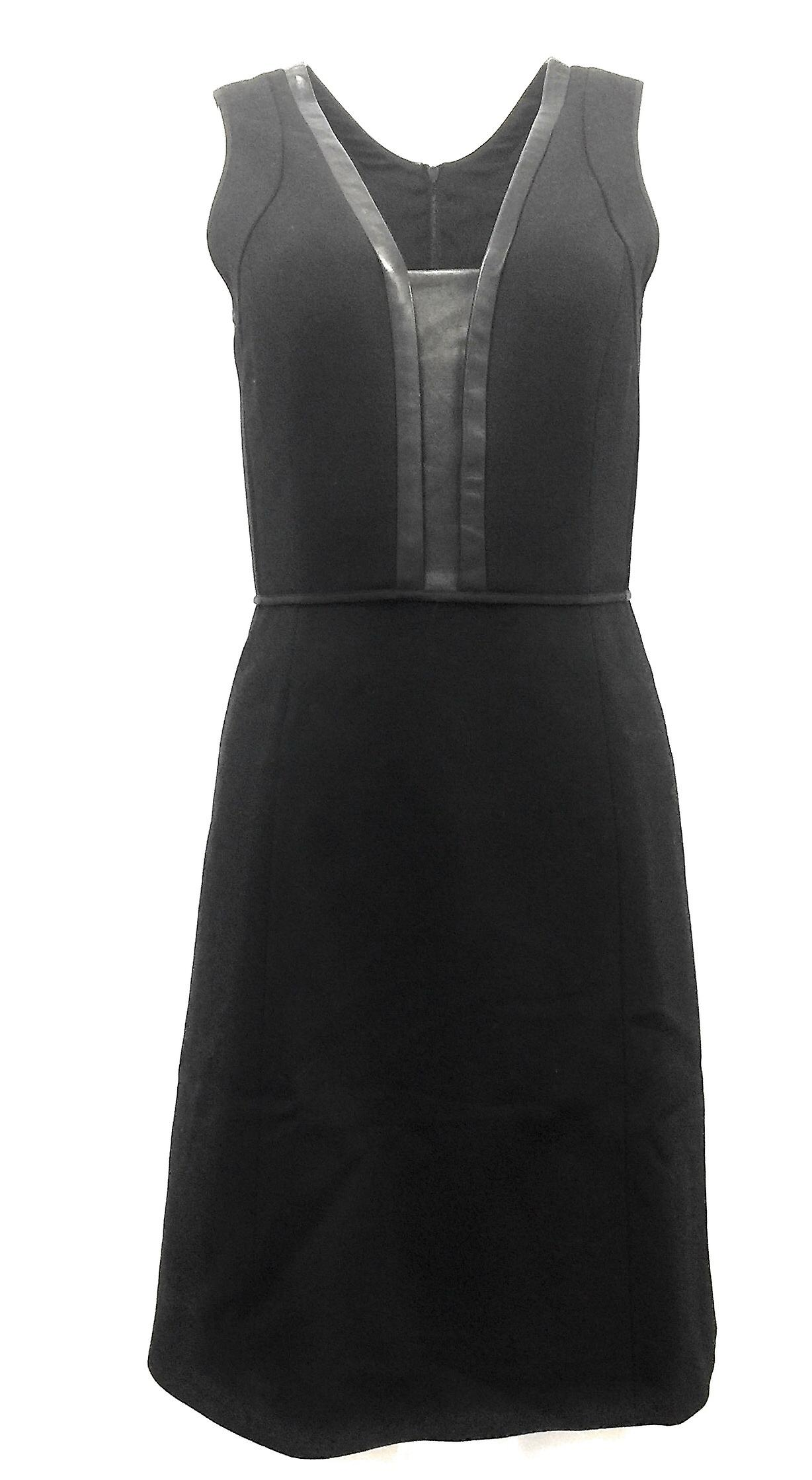 Narciso Rodriguez Leather Trimmed Wool Sheath Dress