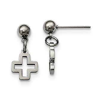 Stainless Steel Religious Faith Cross Post Long Drop Dangle Earrings Jewelry Gifts for Women