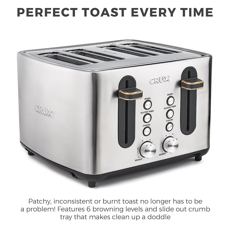Crux 4 Slice Toaster Stainless Steel & Copper 1800W 3 Year Warranty