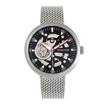 Heritor automatikus Jasper csontváz karkötő Watch-ezüst