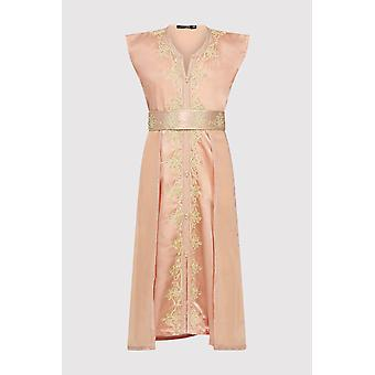 Kaftan radia girl's embroidered occasion wear party sleeveless dress and waist belt in satin salmon (2-12yrs)
