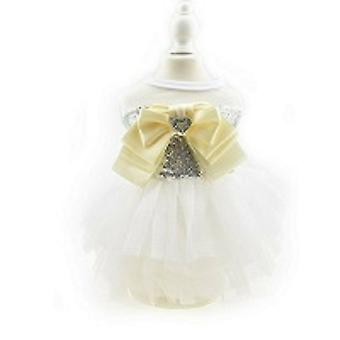 White Sequin Tutu Princess Dog Dress
