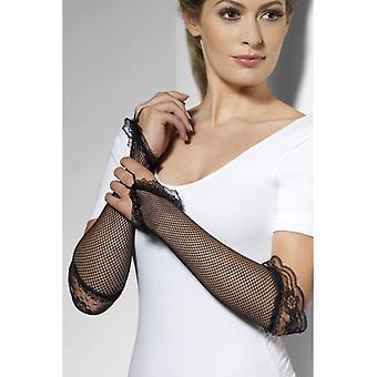 Mănuși de plasă cu mănuși sexy de dantelă lung negru