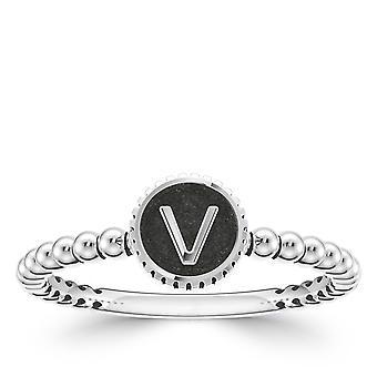BIXLER Letter 'V' Fashion Ring In Sterling Silver