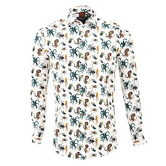 Guide London White Cotton Sateen Octopus Print Mens Shirt