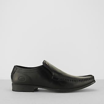 Base London Carnoustie Mens Waxy Leather Moccasin Toe Loafers Black