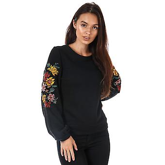 Womens Only Anna Embroidered Crew Neck Sweatshirt In Black