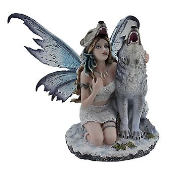 Snow Wolf Huntress Fairy With Howling Wolf Statue