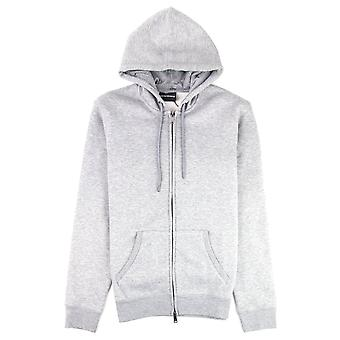 Emporio Armani Small Logo Zip Up Hoodie Grey Melange