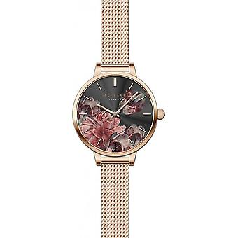 Ted Baker Kate Quartz Floral Dial Rose Oro Maglia Instaless Steel Ladies Orologio TE50070002
