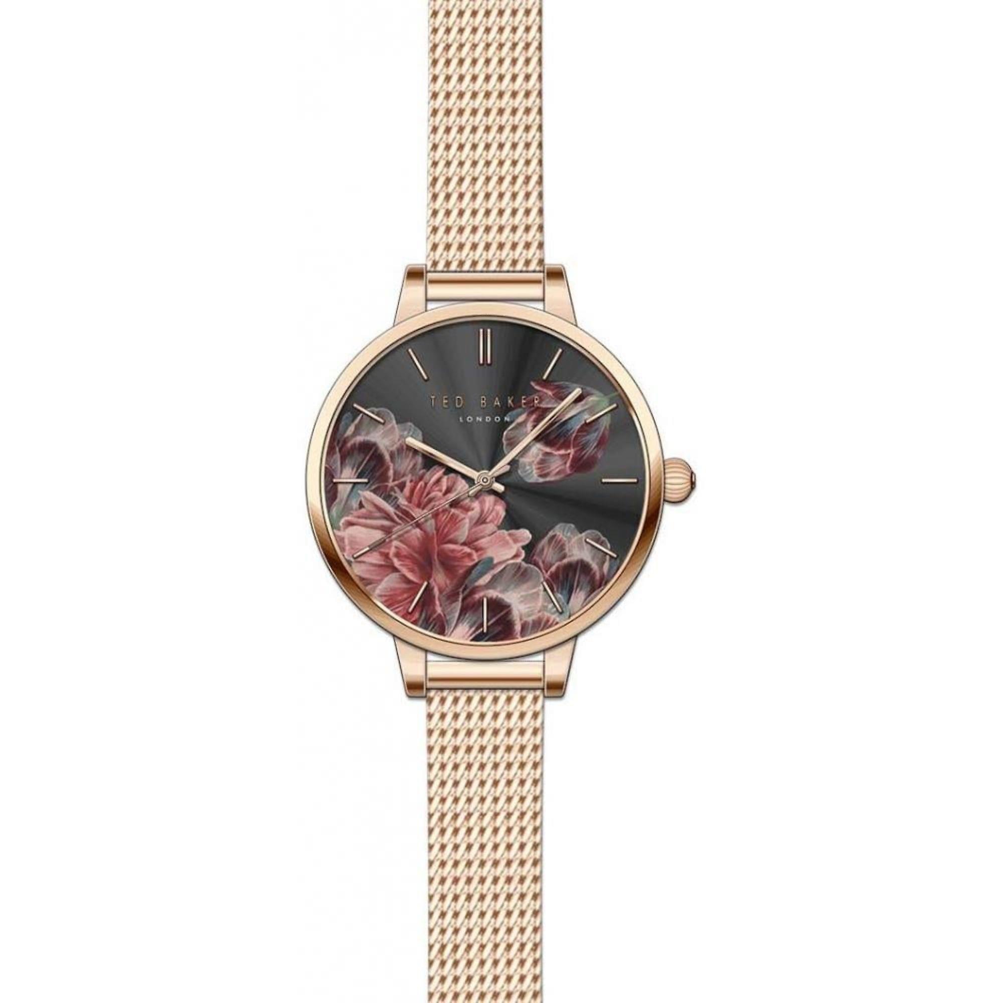 Ted Baker Kate Quartz Floral Dial Rose Gold Mesh Stainless Steel Ladies Watch TE50070002