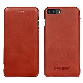 Til iPhone 8 PLUS, 7 PLUS sag, FS Ægte holdbart læder flip cover, rød