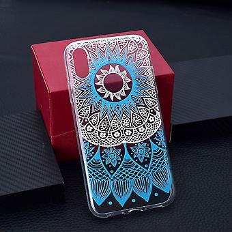 For iPhone XS MAX Cover,Grippy Thin Slim Shockproof Phone Case,Blue Flower