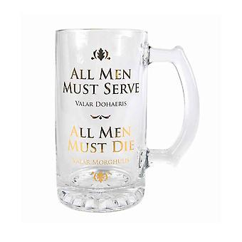 Game Of Thrones Glass Tankard All Men must Die new Official Boxed