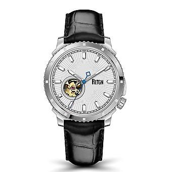 Reign Bauer Semi-SkeletonLeather-Band Watch- Silver/White