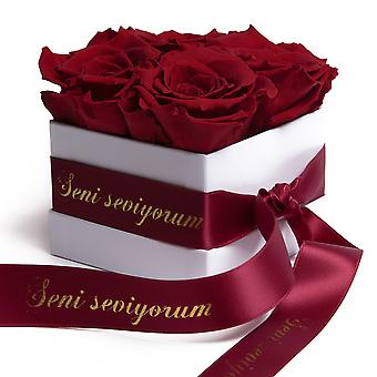 Flowers Box White Preserved Roses Durable 3 Years Dark Red Seni Seviyorum Gift