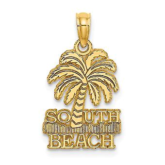 14k Gold South Beach and Water Under Palm Tree Charm Jewelry Gifts for Women - 1.4 Grams