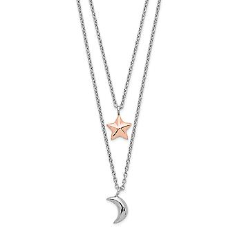 925 Sterling Silver Rose tone Layered Celestial Moon and Star With 1inch Ext. Necklace 17.5 Inch Jewelry Gifts for Women