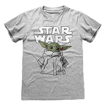 La mandaloriana T-Shirt Bambino Yoda Schizzo Grigio, Unisex