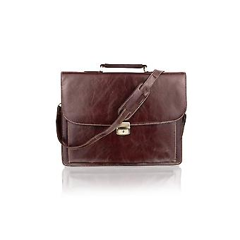 Satchel Briefcase Landscape, Laptop Compartment, Flap Over 15.0