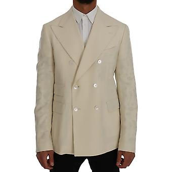 Dolce & Gabbana Beige Wool Stretch Slim Fit Blazer Jacket