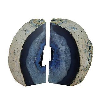 Große blaue brasilianischen Achat Geode Buchstützen poliert 7 bis 11 Pfund