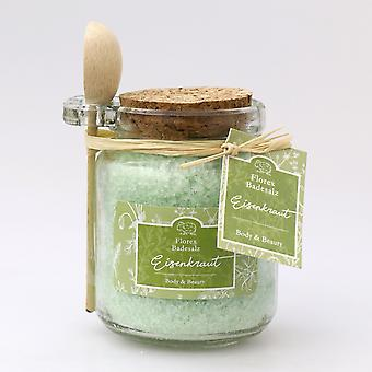 Florex Badesalz Eisenkraut mit Schafmilch im dekorativen Glas Florentine mit Holzlöffel 300 g