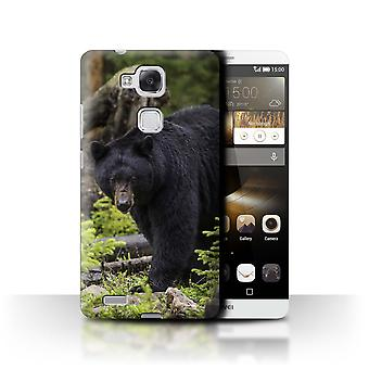 STUFF4 Case/Cover for Huawei Ascend Mate7/Black Bear/North America Animals