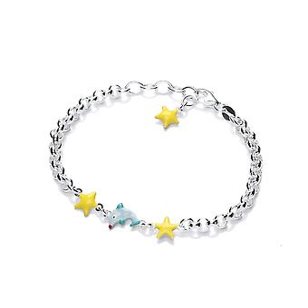 David Deyong Children's Sterling Silver Dolphin & Yellow Stars Bracelet