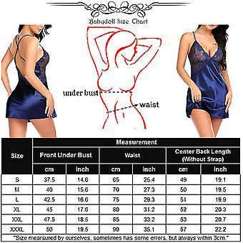 Avidlove Women V Neck Nightwear Sexy Lingerie Satin, Navy Blue, Size Large