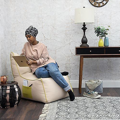 Loft 25 Modern Style Sand 'apos;Finley-apos; Chaise sac de haricots avec poche de stockage