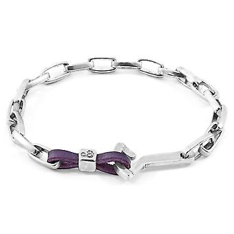 Anchor & Crew Grape Purple Frigate Anchor Silver And Flat Leather Bracelet