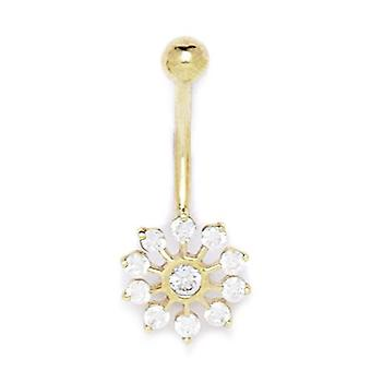 14k Yellow Gold CZ Cubic Zirconia Simulated Diamond 14 Gauge Flower Body Jewelry Belly Ring Measures 28x12mm Jewelry Gif