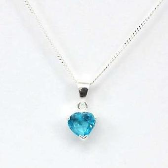 The Olivia Collection Sterling Silver Blue Cz Heart 6mm Pendant On 18