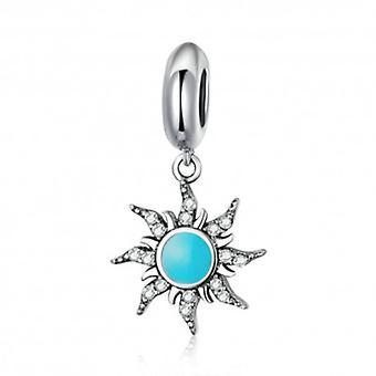 Sterling Silver Pendant Charm Blue Sun - 6061
