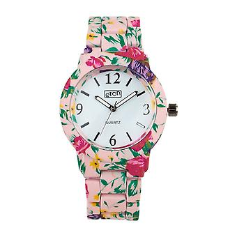 Eton Lt Pink Floral Print Boyfriend Style Bracelet Watch 3150L-PK