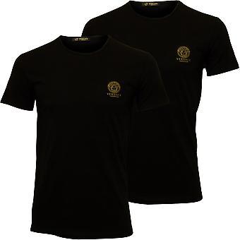 Versace iconische bemanning-hals 2-Pack Stretch katoen T-Shirts, zwart