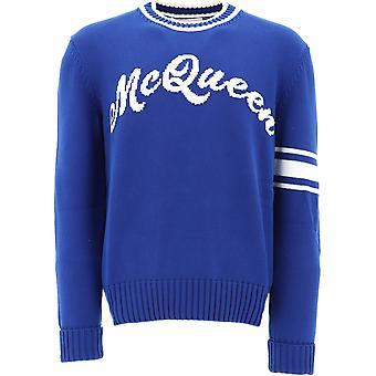 Alexander Mcqueen 603257q1gbf4330 Mænd's Blå Bomuldsweater