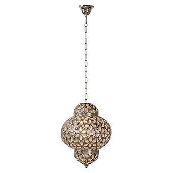 Lucide Djerba Oriental Round Metal Silver Pendant Light