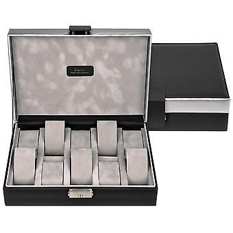 Sacher watch case watch box, watch box CARVONE Black Silver for 10 watches