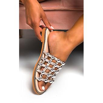 IKRUSH Womens Stella Studed Caged Toe Sliders