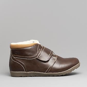 Dr Keller Ash Ladies Faux Fur Lined Touch Fasten Boots Brown