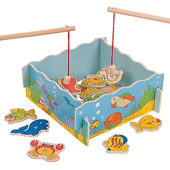Bigjigs Toys Wooden Magnetic Fishing Game Magnet Board Playset Rod