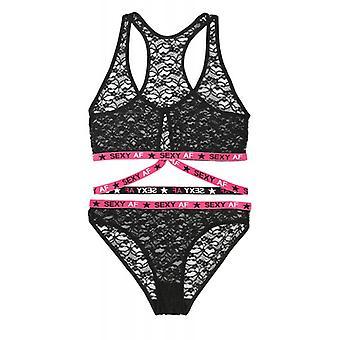 Lace BH-Set Transparent -Black/Pink
