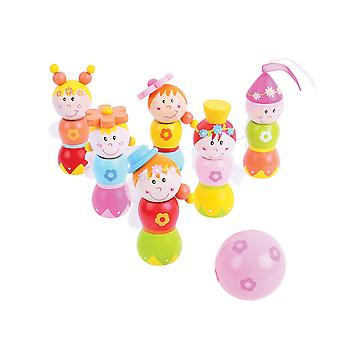 Bigjigs Toys Mini Wooden Fairy Skittles Play Set Game Family Bowling Kids Child